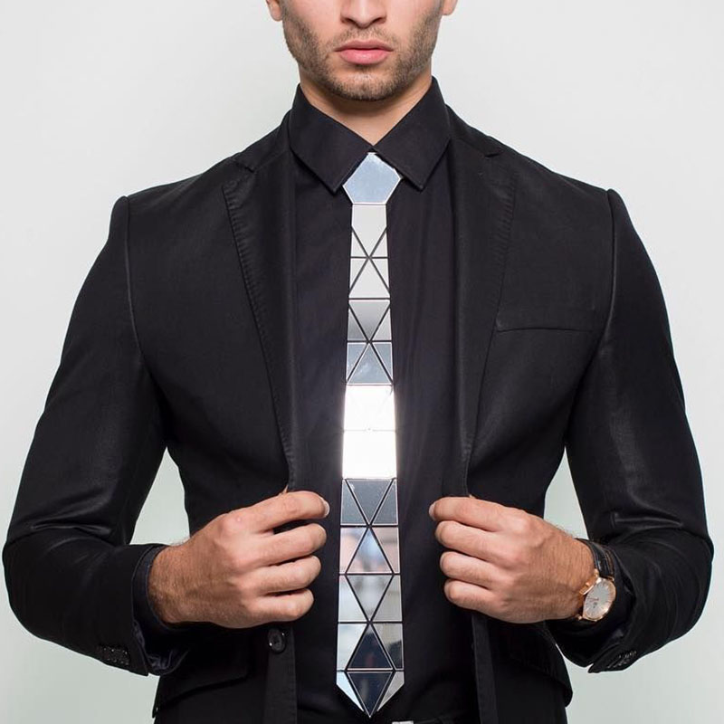 Handmade Glossy Silver Diamond Shape Acrylic Necktie Tie Gift Box Silver Mirror Slim Fashion Necktie Formal Suits Tie Wedding