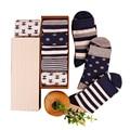 BXMAN (5 pairs/lot) New Autumn&Winter Strip Cotton Socks Minimalist Style Fashion Male Personality Tide Socks