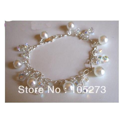 Нью-arriver ручной дизайнер стерлингового серебра 925 пробы кристалл бусины природный жемчуг браслет свадебный невесты мода ювелирных изделий