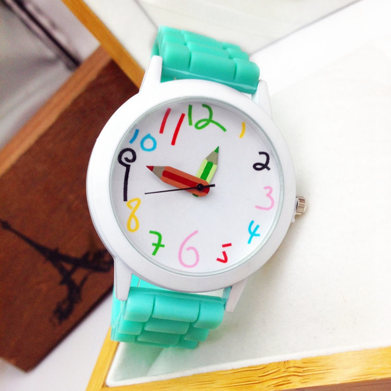 FUNIQUE Cartoon Pencil Children Kids Watches Women Sport Quartz Silicone Watchband Ladies Wristwatch Girl Boy Dress Watch Clock beautiful cartoon rubber strap quartz watch with plane and cloud shaped watchband for children azure