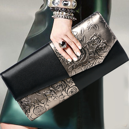 Fashion Embossed Flower Pattern Lady Clutch Purse Genuine Leather Top Leather Cover Vintage Envelope Bags Shoulder Crossbody Bag все цены