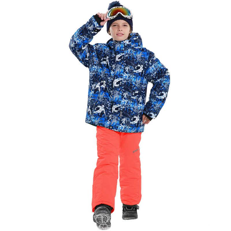 Детектор Новый дети, мальчики, зима, большой размер, Костюмы комплект Лыжный спорт куртка штаны, зимний костюм на мороз-20-30 градусов для девочек водонепроницаемый лыжный костюм Размеры 116-164