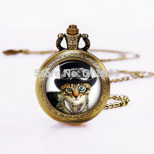 Steampunk Cat Vintage Quartz Pocket Watches 12pcs/lot Pendant Necklace Chain wit