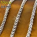 10pcs JEWELRY keel Link silver 5mm Chains 316L Stainless Steel Necklace fittings Braided Casual Sporty Wholesale 5.0basketchain