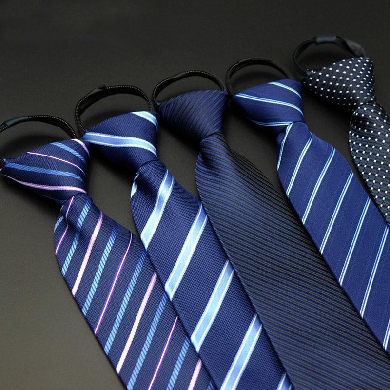 Férfi nyakkendők hivatalos viselet üzleti nyakkendő 8cm esküvői adminisztratív cipzáras nyakkendő csíkos poliészter selyem nyakkendők férfiaknak LD8036