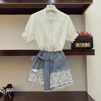2018 New Fashion Summer Women's Short Sleeve Lotus Leaf Shirt + Lace Spliced Irregular Jeans Shorts Two piece Girls Shorts Set
