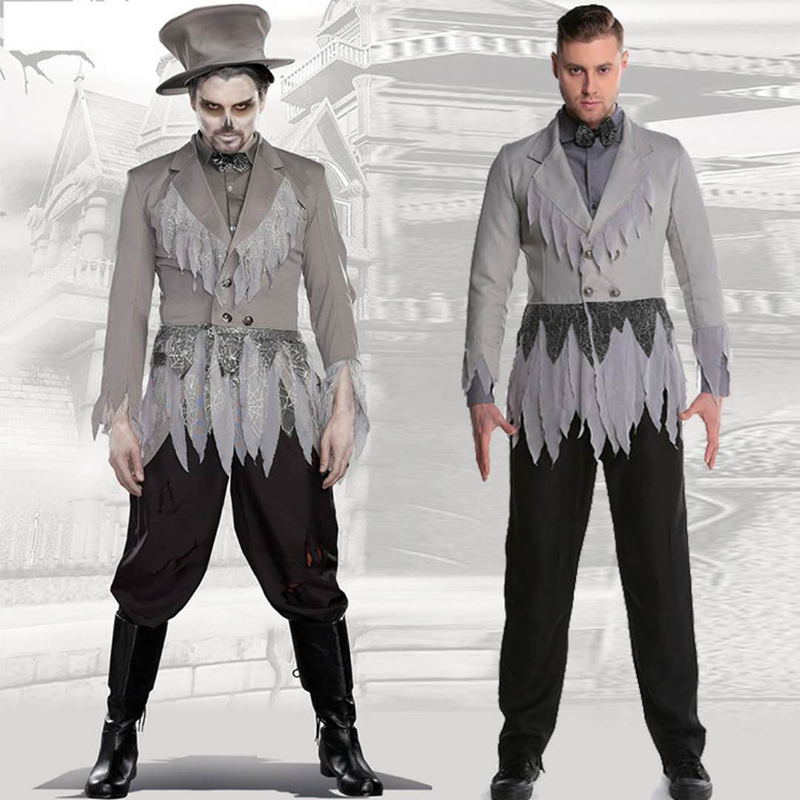 Carnival Costume Zombie Skull Cosplay Halloween Men's Devil Costumes Terrorist Men's Gentleman Suit Masquerade Adult Set Gray Su