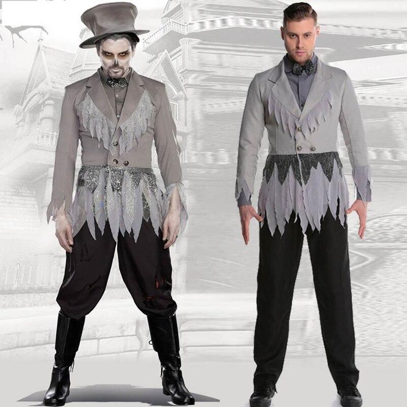 Carnival Costume Zombie Skull Cosplay Halloween Men's Devil Costumes Terrorist Men's Gentleman Suit Masquerade Adult Set Gray Su