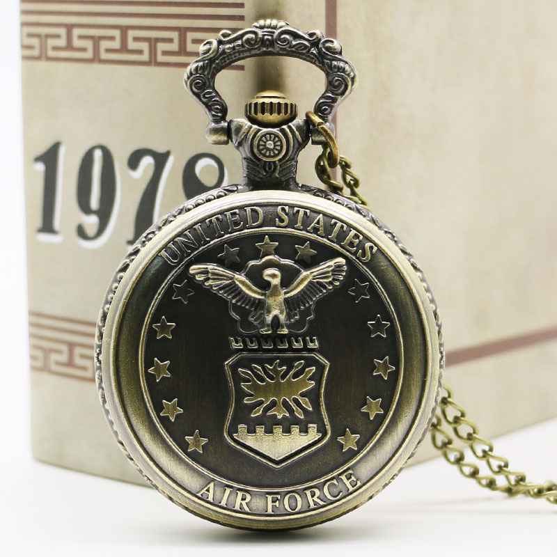 Antique Bronze United State US Air Force Eagle Stars Quartz Pocket Watch Necklace Pendant Best Gift  Free Shipping