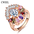 CWEEL Imitation Crystal Rings For Women Gold Plated Jewelry Zinc Alloy African Beads Wedding Holiday Engagement Accessories