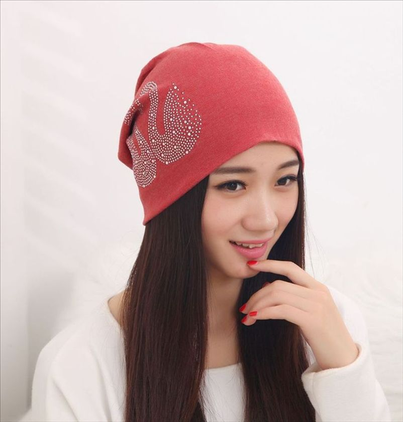 ef074fe276e New Women s Hats with Rhinestone Swan Cotton Turban Beanies for Men Slouchy  Beanie Hip Hop Black Winter Hats for Women Skully-in Skullies   Beanies  from ...