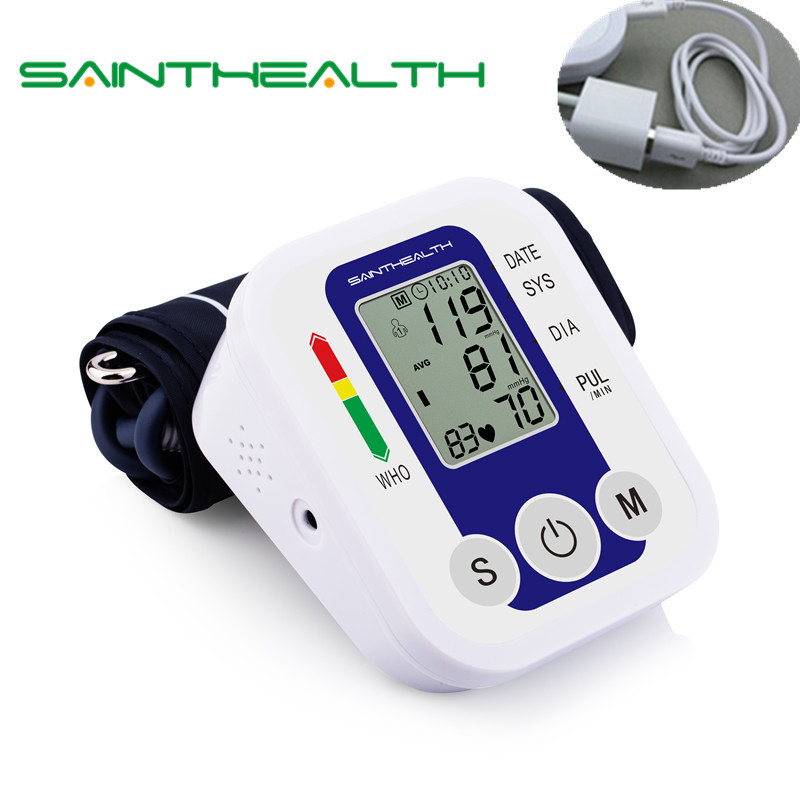 Assistenza Sanitaria USB Braccio Polso Digital Blood Pressure Monitor Sfigmomanometro Elettronico Automatico di Calore Rate Monitor Meter