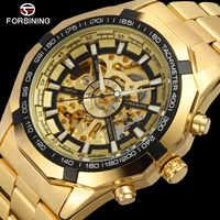 FORSINING marque hommes montre automatique de luxe squelette montres mécaniques hommes or en acier inoxydable horloge Relogios Masculino 2019