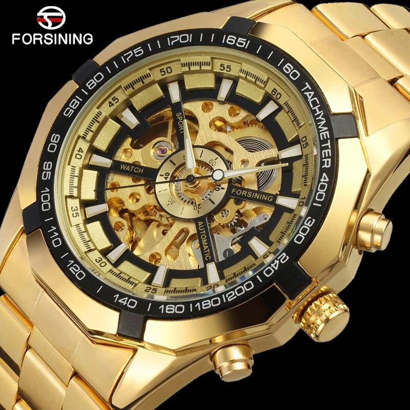FORSINING العلامة التجارية الرجال ساعة أوتوماتيكية فاخرة الهيكل العظمي ساعات آلية الرجال الذهب ساعة من الفولاذ المقاوم للصدأ Relogios Masculino 2019الساعات الميكانيكيةالساعات -