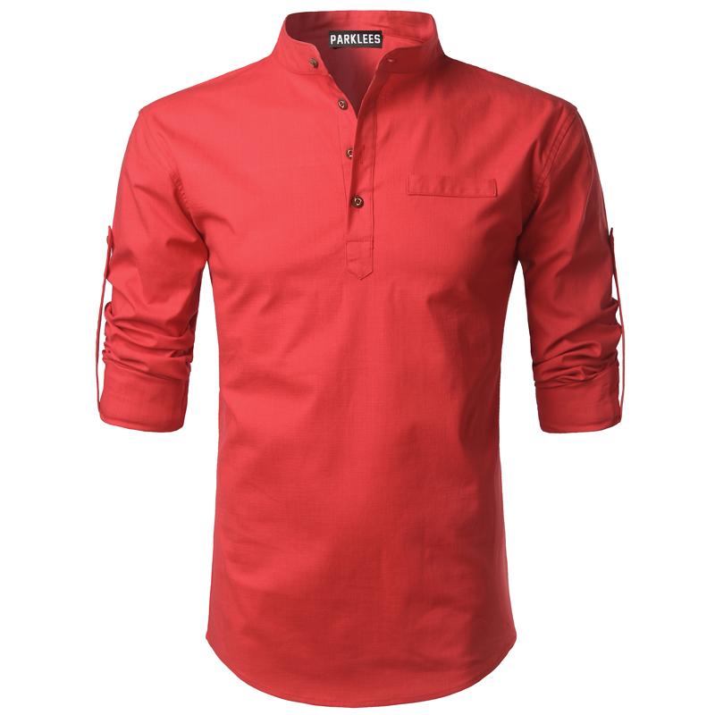 Tunique col Mao rouge écarlate, manches longues avec poche