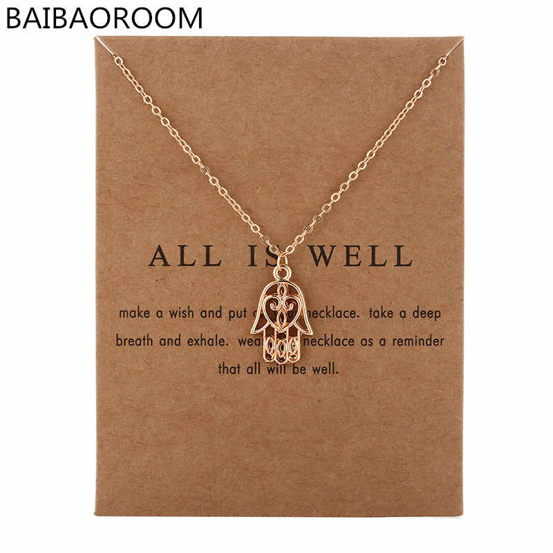 New Arrived Fashion Jewelry Silver Color All Is Well Hamsa Fatima Hand Chocker Necklace Pendant For Women Girl