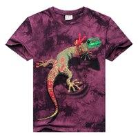 Hot New Fashion Men S Short Sleeve T Shirt O Neck Lizard 3d Water Printed T