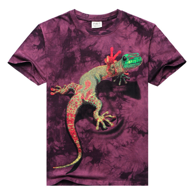Hot New Fashion Men's Short Sleeve T Shirt O-neck Lizard 3d Water Printed T-shirts Casual Sprots Hip Hop Man Clothing