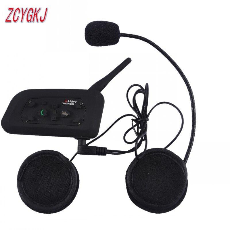 1 pcs New V6 BT multi interphone Bluetooth intercom for Motorcycle wireless headphones Accessories 1200M Helmet Headset 6 Riders