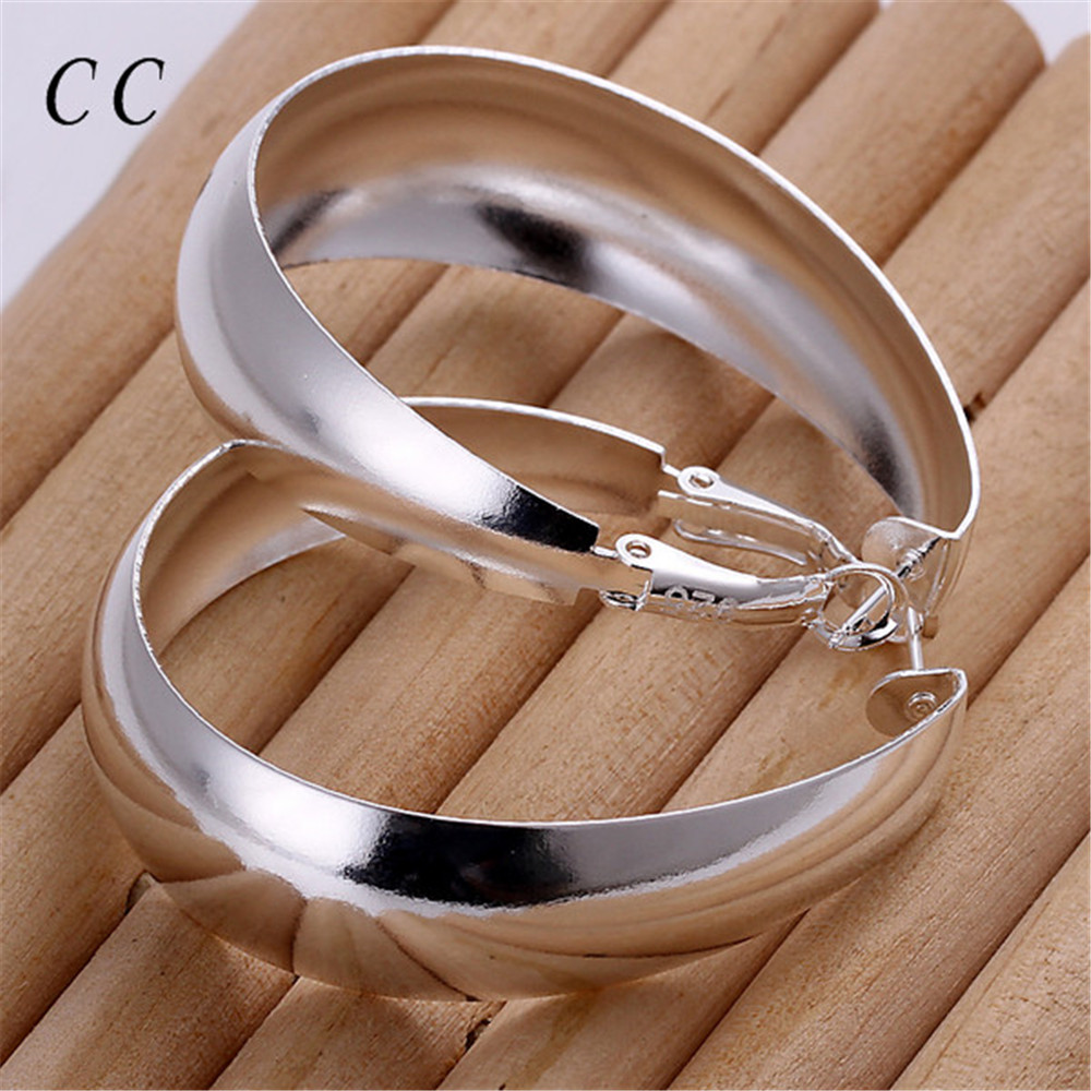 Casual Round Hoop Earrings For Women Silver Plated Stylish Big Diameter  Earrings For Female Jewelry Office Bijoux Ccne0289