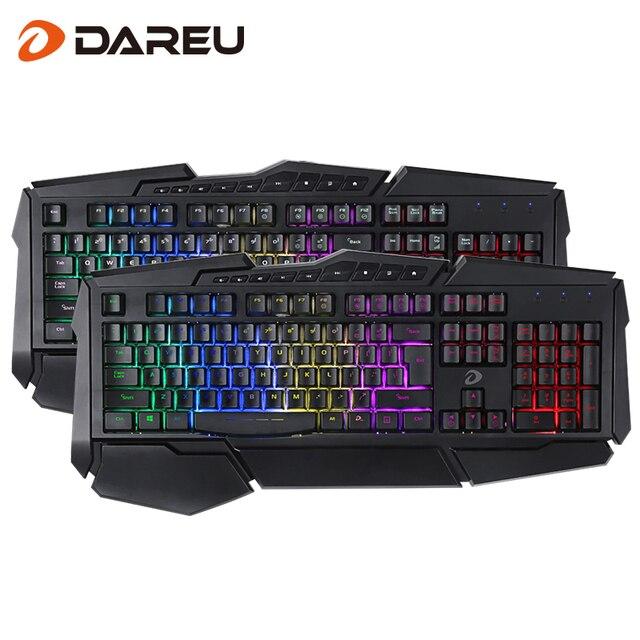 DAREU LK160 LED Hintergrundbeleuchtung Lampe Gaming Tastatur Wasserdichte Multimedia Wired USB Computer Tastatur mit Handgelenk Schiene für Spiel