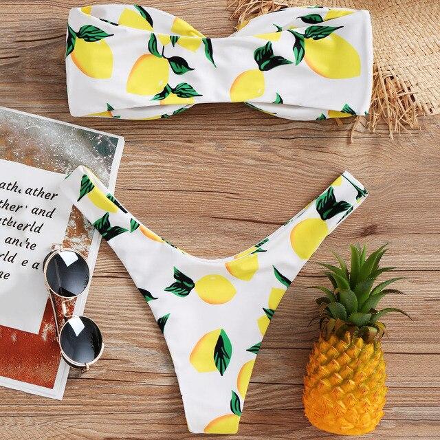 f5c16091ce6b2 Lemon Print Twist Bandeau Bikini Set Bathing Suit Swimsuit Strapless High  Leg Thong Bikini Push Up Bikini Women Swimwear