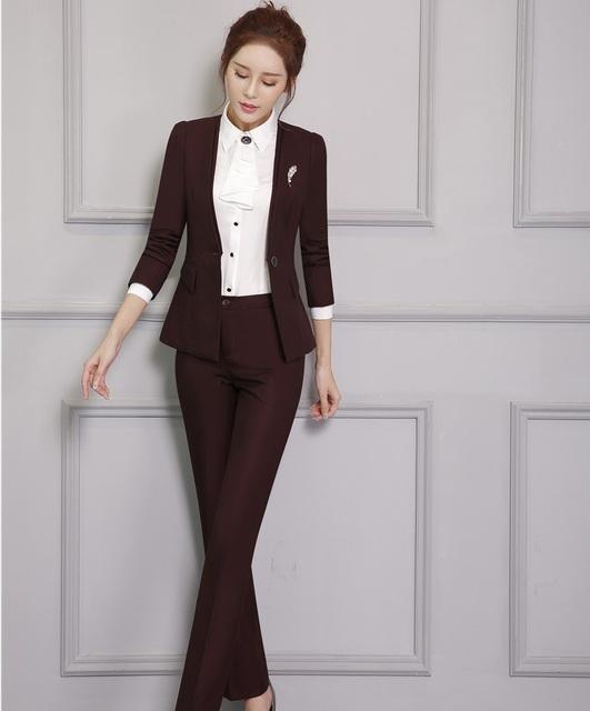 Novidade Forma Formal Projeto Uniforme Profissional Feminino Pantsuits Com Tops E Calças Outono Inverno Escritório Ladies Calças Definidos