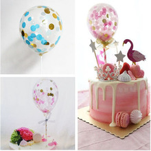 hot deal buy 1set 5 inch confetti balloons clear ballons cake topper kid children baby shower birthday party supplies wedding decoration