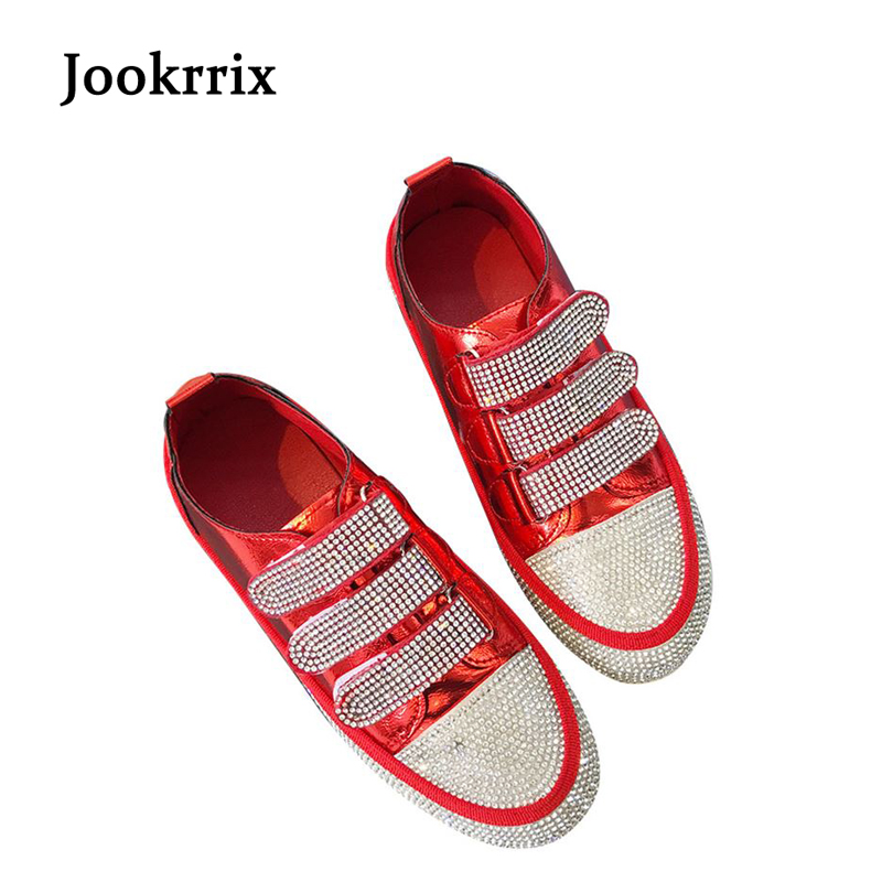 Jookrrix 2018 Spring Fashion Brand Real Leather Lady Casual White Shoes Women Shoe Crystal Girl Leisure Sneaker Bling Breathable