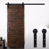 LWZH 6ft 7ft 8ft 9ft Sliding Barn Door Hardware Kit Top Mounted Hanger Track Black Steel Closet Door Roller Rail for Single Door