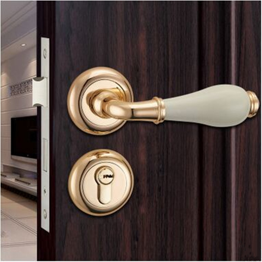 Modern simple fashion gold Printing ceramics indoor handle lock antique brass Bedroom study bathroom solid wood door lock white european fashion ivory white bedroon door handles antique bronze mute wooden door lock gold indoor locks modern simple