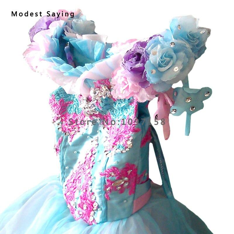 Prabangus mėlynas kamuolys suknelė karoliukas nėrinių gėlių - Suknelės vestuvėms - Nuotrauka 2