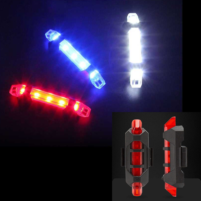 2019 USB Rechargeable Bicycle Front Light 5 LEDs 4 Modes Head Tail Bike Light Flashing Safety Warning Lamp Bicycle Accessory