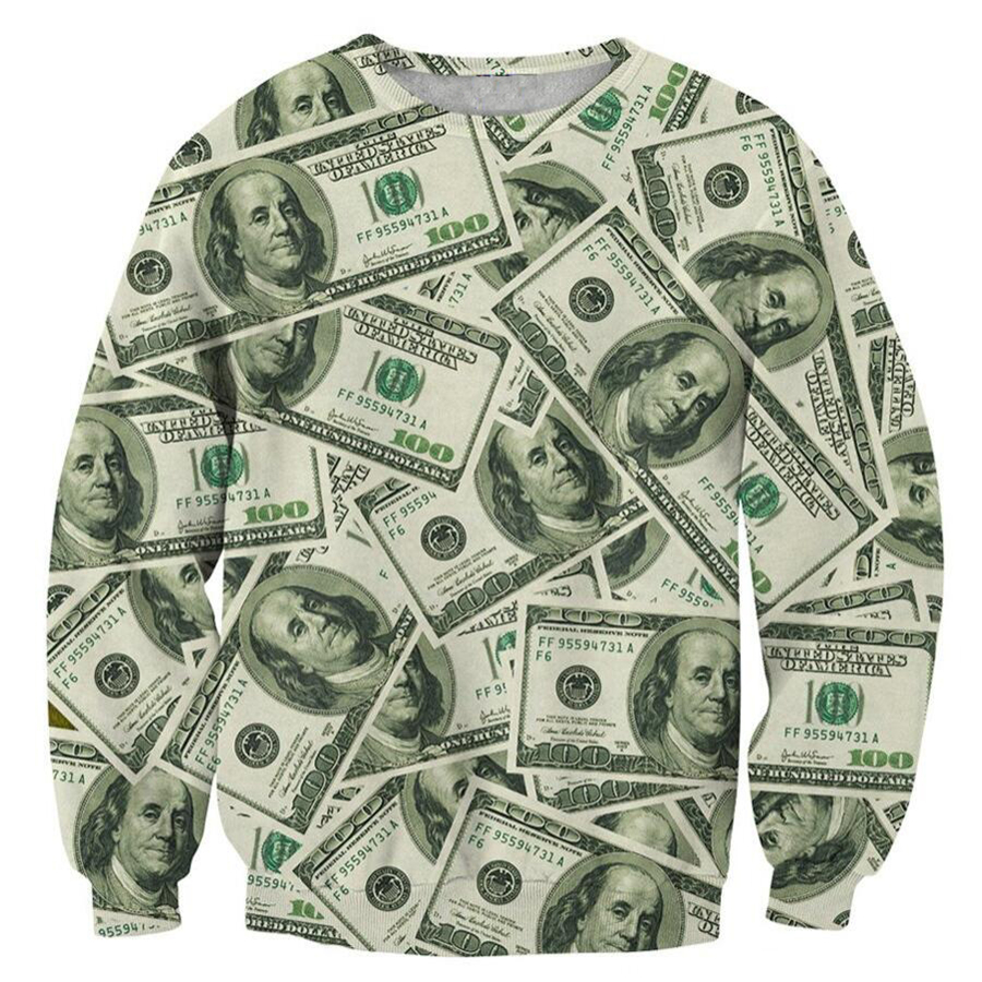 2018 NEW FASHION MEN AND WOMEN The dollar 3D Print Sweat shirts Pullovers Tracksuit Streetwear Loose Thin Hoody Tops
