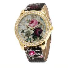 Top Brand Luxury Wristwatch Ladies Rose Pattern Leater Bracelet Watches new Design fashion Rhinestone Casual Watch Relojes