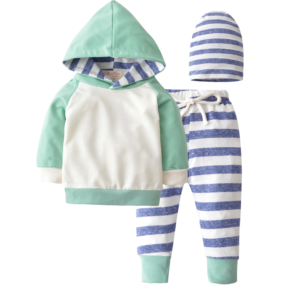 2018 New Autumn Newborn Baby Boy Girls Clothes Cute Hooded Sweatshirt Tops + Cotton Pants 3pcs Outfit Kids Infant Clothing Set 2pcs newborn baby boys clothes set gold letter mamas boy outfit t shirt pants kids autumn long sleeve tops baby boy clothes set