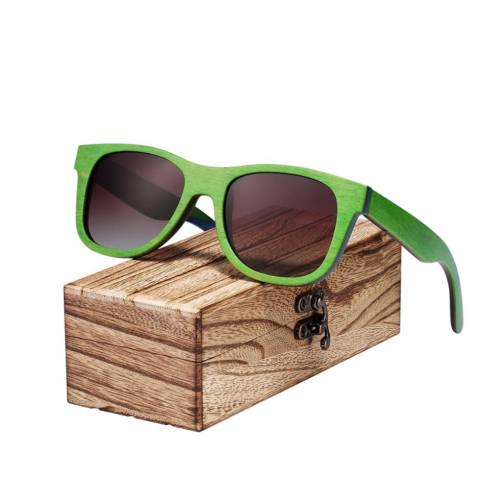 BARCUR 新スケートボード木材サングラス男性偏光 UV400 保護サングラス女性ウッドボックス送料  グループ上の アパレル アクセサリー からの サングラス の中 1