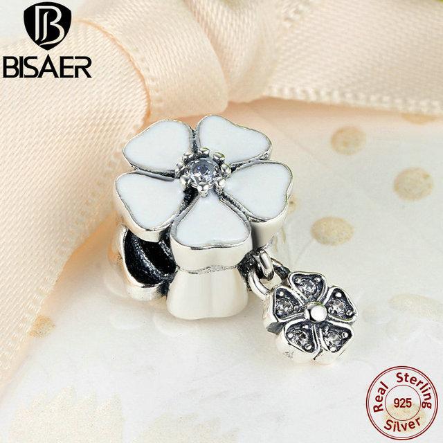 BISAER 100% 925 Sterling Silver Mão-terminado Poéticas Flores Pingente Charme Fit Pandora Bracelet & Bangle Jóias DIY AS285