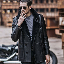 Мужская куртка Авиатор B3 из овчины, мотоциклетная куртка, повседневное пальто для путешествий, зимняя кожаная куртка, длинная Стильная черная