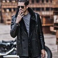 Mens Aviator B3 Sheepskin Shearling Jacket Motorcycle Jacket Travel Casual Coat winter leather jacket Long Style Black