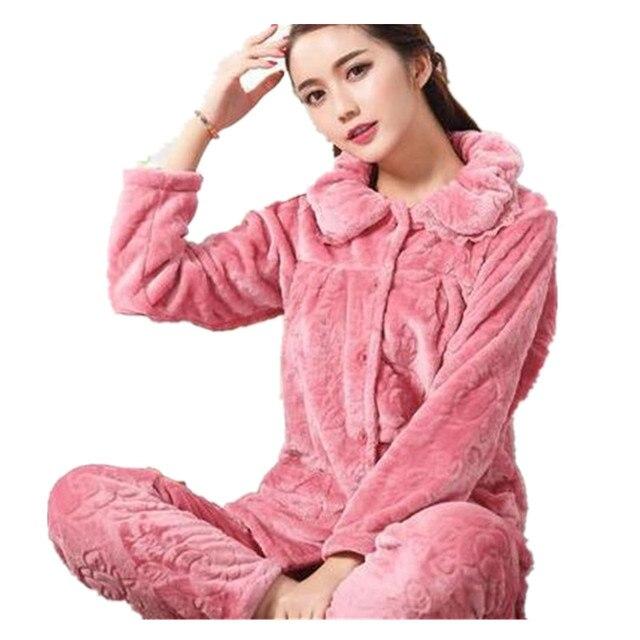 4464a4d1ed72 Nuevo pijama de Invierno para mujer, conjuntos de pijamas de franela y  animales, ropa