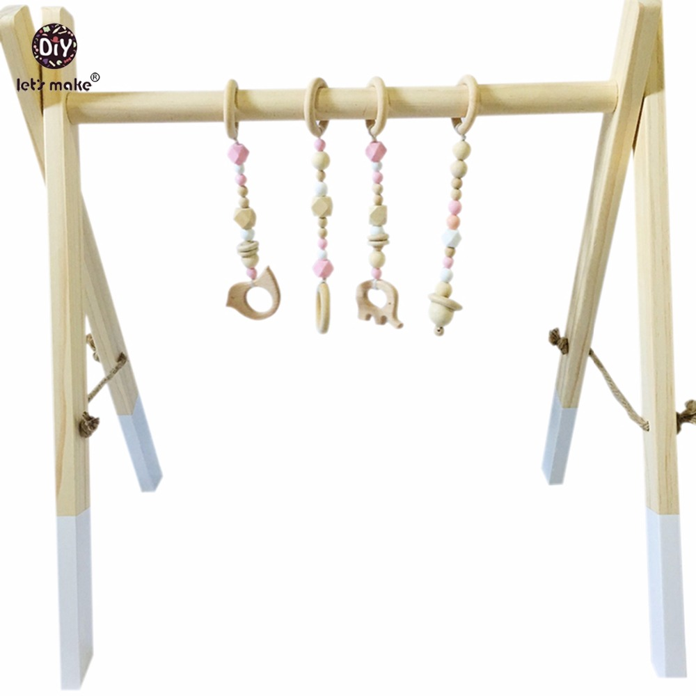 Let s Make Classic Wooden Baby Gym Accessories Play Gym Rattle Toy Set Frame Nursery Decor