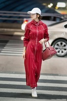 2018 Spring Summer Runway Collection Designer Red Striped Mid Calf Dress Elegant High End Haute Couture