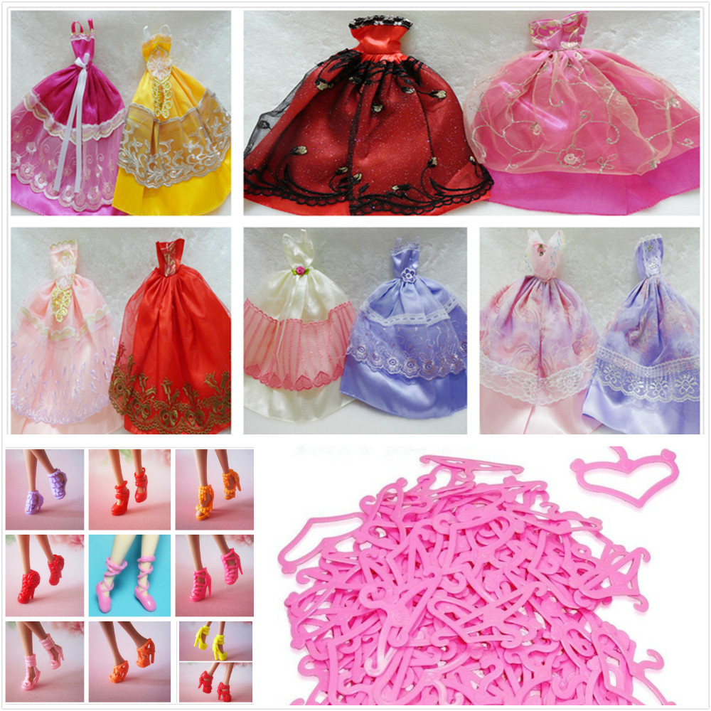 Stunning Robe Celebration Clothes For Barbies doll 30Gadgets=10Gown+10Sneakers+10Hangers Doll's Style Wedding ceremony Gown Garments Equipment