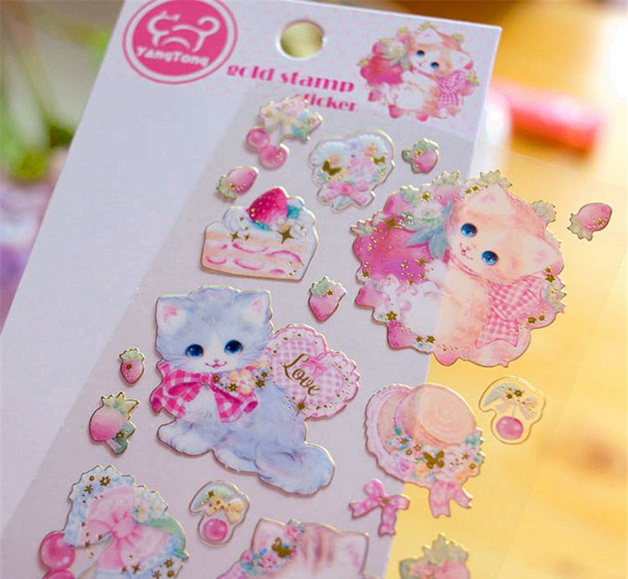 1 Pcs/pack Stationery Stickers Cat PVC Gold Diary Planner Decorative Mobile Stickers Scrapbooking DIY Craft Stickers
