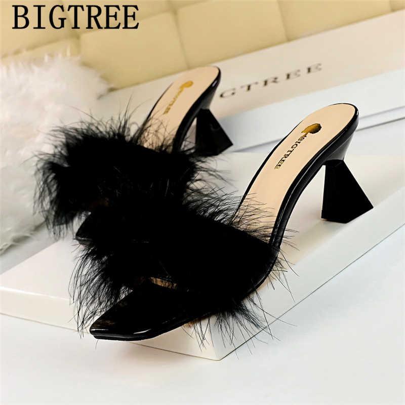 Muilezels hoge hakken sandalen bont slippers bigtree schoenen dames slippers en sandalen open teen hakken elegante schoenen zomer slippers