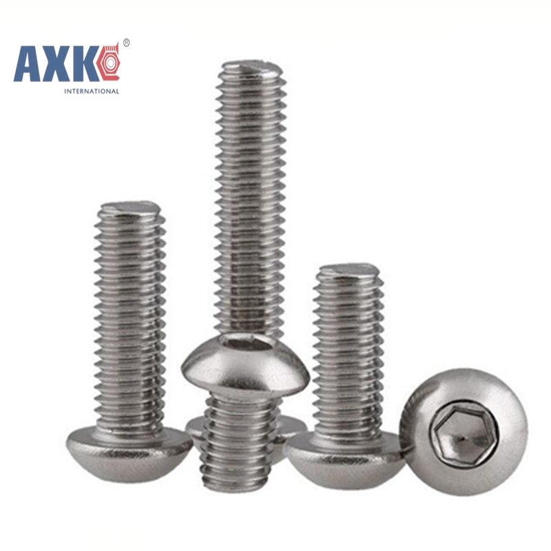 50Pcs M2 M2.5 M3 M4 ISO7380 GB70.2 304 Stainless Steel A2 Round Head Screws Mushroom Hexagon Socket Button Head Screw AXK016 20pcs m3 6 m3 x 6mm aluminum anodized hex socket button head screw
