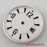 31.5mm quadrante bianco segni neri fit 2836 Mingzhu 2813 4813 movimento ETA quadrante Dell'orologio degli uomini