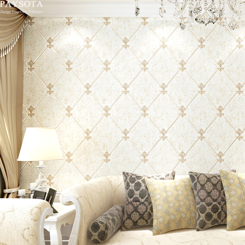 ФОТО PAYSOTA High quality 3D Embossed Non-woven Wallpaper European Style Living Room Bedroom TV Sofa Background Wall Paper