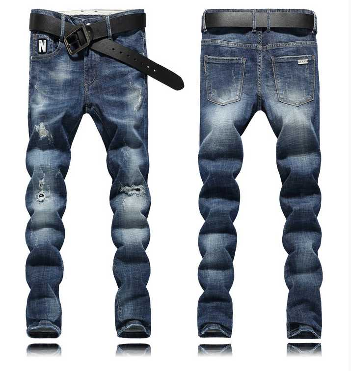 Summer thin blue hole jeans male slim elastic skinny male casual long trousers